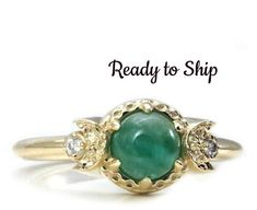 Etsy Ready to Ship Size 6 - 8 Emerald and Diamond Triple Moon Goddess Engagement Ring - 14k Yellow Gold