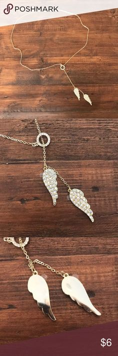 NWOT Victoria's Secret Angel Wings Necklace Never worn, still has protective cover on back of angel wings.   No tarnish Victoria's Secret Jewelry Necklaces