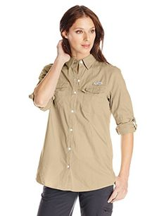 Columbia Bonehead II W Long Sleeve Shirt Fossil Large ** Want to know more, click on the image.