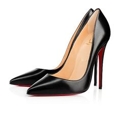 """""""So Kate"""" is a Christian Louboutin signature style known for her pointed toe and superfine stiletto heel. At 120mm, this single-sole pump in lustrous black leather is the secret to ensemble perfection."""