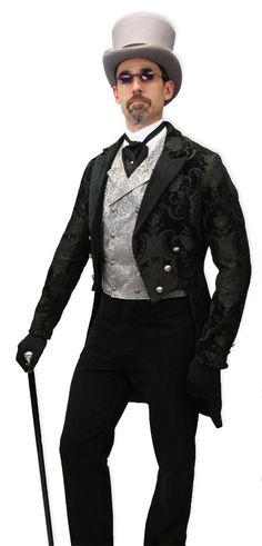 Velvet Trimmed Regency Tailcoat - Black Tapestry