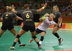 Stine Bredal Oftedal of Norway in action during the Womens Quarterfinal match… Rio Olympics 2016, Garra, Rio 2016, Olympic Games, Norway, Men's Fashion, Action, Running, Female