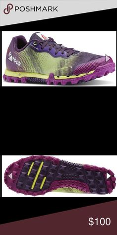 Reebok Spartan All Terrain Women's all terrain shoes. Never worn! Purple and lime green. Traction on the bottom and water draining wells on the bottom of the shoe. Made for off road runs. Reebok Shoes Athletic Shoes
