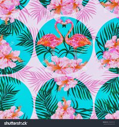 Beautiful seamless vintage floral pattern background with watercolor pink flamingos, tropical flowers and palm leaves, hibiscus Flamingo Pattern, Flamingo Print, Pink Flamingos, Hawaiian Flowers, Tropical Flowers, Art Template, Templates, Pattern Images, Flower Images