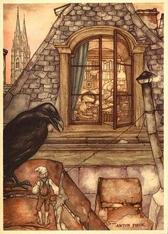 "Illustration by Anton Pieck for Selma Lagerlöf's ""The Wonderful Adventures of Nils"", 1940 Theo Van Doesburg, Anton Pieck, Raven Art, Dutch Painters, Dutch Artists, Book Illustration, Graphic, Illustrators, Fantasy Art"