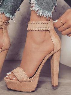 1960a7830e57 Beige Knit Strap Nicole Heels • Seventh Stitch • Tictail