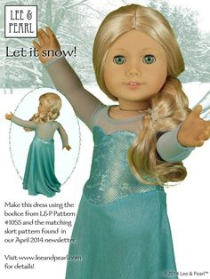 """FABRIC KIT to make THREE Snow Queen / Ice Princess dresses for 18"""" dolls - 2nd Limited Edition 