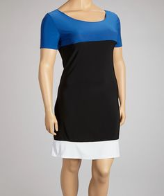 Take a look at the Black & Blue Color Block Dress - Plus on #zulily today!