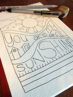 Drawing Doodles Ideas You Are My Sunshine Doodle Time - B-Inspired Mama - Zen Doodle, Doodle Art, Doodle Lettering, Doodle Inspiration, Doodles Zentangles, Doodle Drawings, You Are My Sunshine, Smash Book, Word Art