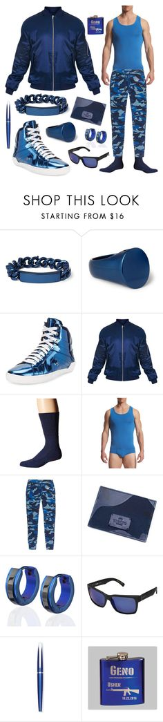 """bad boy blue"" by rewolf71 ❤ liked on Polyvore featuring Maison Margiela, Bally, Falke, TANI, True Religion, West Coast Jewelry, VonZipper, Cross, men's fashion and menswear"