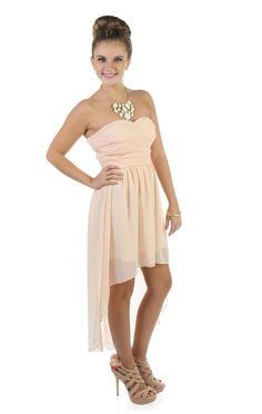 strapless chiffon high low #prom dress  $62.50