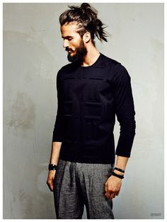 Finn Brock Rocks Chic Mens Hair Updos for QVEST Shoot<<'Men's Updo' should not be a phrase.