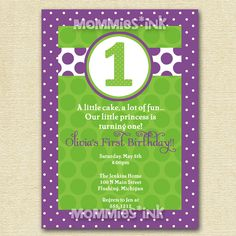 Purple and Green Bright and Polka Dotty Birthday Invitation - PRINTABLE INVITATION DESIGN by MommiesInk on Etsy https://www.etsy.com/listing/98042440/purple-and-green-bright-and-polka-dotty
