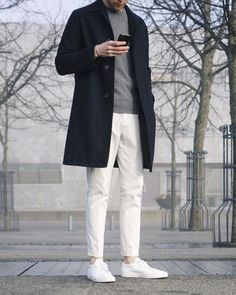winter whites // menswear, mens style, fashion, sneakers, overcoat, topcoat, grey, gray, sweater, winter, street style