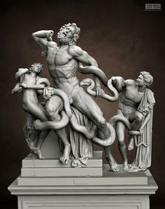 """This is a sculpture of a famous hellenistic statue """"Laocoon and Sons"""". I tried to make the version located on Vatican Museum Ancient Greek Sculpture, Greek Statues, Ancient Art, Statue Antique, Roman Sculpture, Greek Art, Classical Art, Renaissance Art, Illustration Art"""
