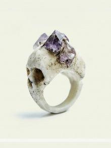 Bifacial Skull Ring | NOT JUST A LABEL  Amethyst on Skull. By MacbreGadgets