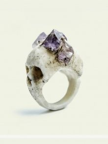 Bifacial Skull Ring | NOT JUST A LABEL  Amethyst on Skull. By MacbreGadgets
