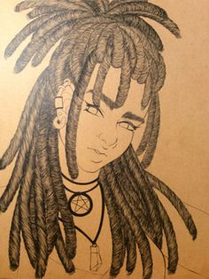 Spent 4hours on just hair and I'm not even done this piece lol  #artist #dreadlocks #manga #pwgallery #anime #art #myoc #artwork #originalcharacter
