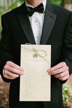 Wax seal atop order of ceremony programs