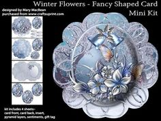 Winter Flowers   Fancy Shaped Card Mini Kit on Craftsuprint designed by Mary…