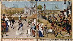 Construction de St-Denis. Campagne de Dagobert 1° en Poitou. Robinet Testard. Grandes Chroniques de France. BNF.- DAGOBERT 1°. 3)BIOGRAPHIE. 3.3 ROI DES FRANCS, 27: *Il développe également l'éducation et les arts, et fait de nombreux dons importants au clergé (il fonde entre autres l'ABBAYE DE St-DENIS qui accueille son tombeau quelques années plus tard).