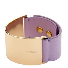 Purple Leather and Gold Metal Cuff