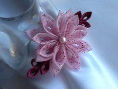 Hair Clip Pink Burgundy Meroon Kanzashi by LihiniCreations