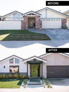 home remodel exterior curb appeal Garage Door Makeover, Home Exterior Makeover, Exterior Remodel, Garage Doors, Home Renovation, Home Remodeling, House Colors, Curb Appeal, Exterior Design