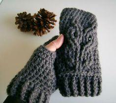 #Handmade on #Zibbet - Owl Crocheted Fingerless Gloves, Mitts, Mittens, Wristwarmers by customcrochet for $27.00
