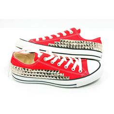 Studded Converse Pyramid studs with converse low top Red by CUSTOMDUO... ($100) ❤ liked on Polyvore featuring shoes, sneakers, converse, all star, chaussure, star shoes, vintage shoes, vintage sneakers, converse trainers and low top