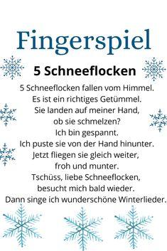 Schneeflocken-Fingerspiel Finger game on winter and snowflakes for children. Thema Winter Im Kindergarten, Kindergarten Activities, Autumnal Equinox Celebration, Finger Games, Tagxedo, Kindergarten Portfolio, Diy And Crafts, Crafts For Kids, Vernal Equinox