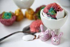 """Colorful Easter egg cakes baked inside of real eggs and filled with a gooey fruit icing """"yolk"""". Soft boiled eggs have never tasted so sweet! Boil Easter Eggs, Easter Egg Cake, Soft Boiled Eggs, Coloring Easter Eggs, Easter Colors, Fun Desserts, No Bake Cake, Food To Make, Favorite Recipes"""