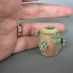 Miniature Dollhouse Plant Sedum in Strawberry Pot♡ ♡