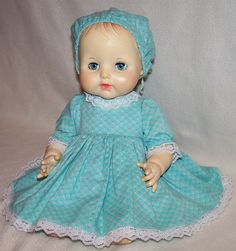 VINTAGE IDEAL BETSY WETSY BABY DOLL W/ NICE DRESS MOLDED HAIR #DollswithClothingAccessories