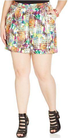 Modamix Plus Size Graphic-Print Sateen Shorts Web ID: 2159520 Junior Plus Size Clothing, Trendy Plus Size Dresses, Plus Size Outfits, Short Dresses, Plus Size Shorts, Curvy Outfits, Junior Outfits, Boho Shorts, Plus Size Fashion