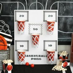 Beer Pong Basketball Party Game Source by hbilbo Kids Sports Party, Sports Themed Birthday Party, Basketball Birthday Parties, Kids Party Games, Game Party, Basketball Party Themes, 21st Party Themes, Beer Birthday Party, 50th Birthday Party Games
