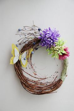 Spring flowers wreath butterfly and flowers by ArktosCollectibles