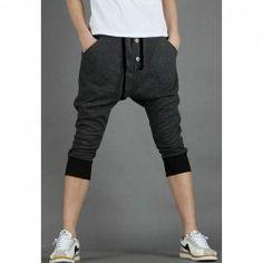$9.40 Korean Style Buttons Embellished Men' s Cropped Harem Pants