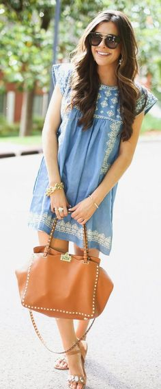 Baby Doll Denim Dress Beach Style by The Sweetest Thing