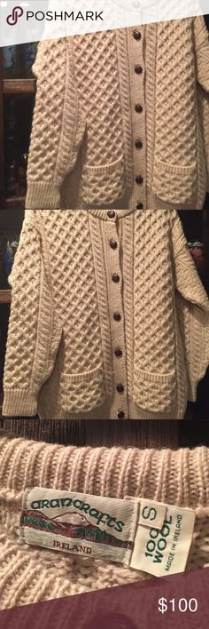 Sweater from Ireland Aran Crafts Vintage cream color  sweater from our trip to IRELAND says  small but  I wear a large fits  roomy  pristine & gorgeous ❤ aren Sweaters Cardigans