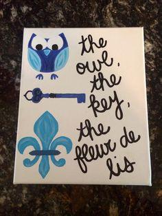 Kappa Kappa Gamma #KKG #kappa #owl #key #fleurdelis #craft
