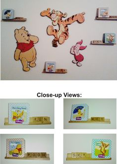 $4 Total. Winnie the Pooh cardboard wall cut-outs, $2 for the set at the thrift store; $2 for a set of Pooh mini-books; free Scrabble letter holders and letters: Original thrift store deco art for the grandchildren's wall!