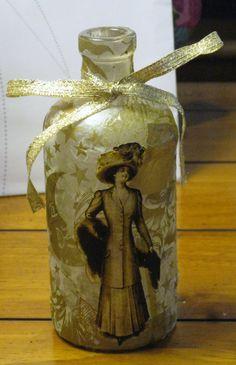 Victorian Lady Gold Tissue Decoupaged Antique Bottle. $12.00, via Etsy.