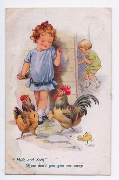 Nina Brisley card | eBay -- little girls hide and seek with chickens