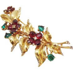 Trifari Sterling Vermeil Fur Pin 1940's from simplydecorous on Ruby Lane