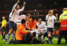 Every football fan, surely, remembers this... Spurs players (and some fans) mob Aaron Lennon as he scores to make it 4-4 at the Emirates.