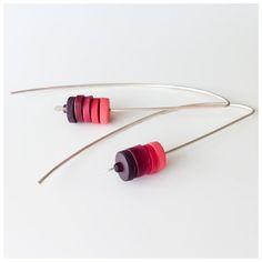 Long Sterling Silver Wire Drop Earrings by ColourDesignsStudio