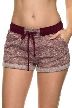 French Terry Jogger Shorts - Burgundy, , Bottoms, New, Bayberry Co. - 1