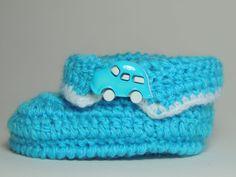 Sapatinho de Crochê Masculino com Lã Azul - Parte 2/3