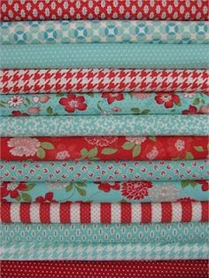 I need to commission someone to make quilts out of this fabric - Bonnie & Camille, Vintage Modern, Aqua/Red in FAT QUARTERS 13 Total Houndstooth Fabric, Red Fabric, Aqua Quilt, Turquoise Quilt, Sewing Crafts, Sewing Projects, Red And Teal, Textiles, Quilt Patterns